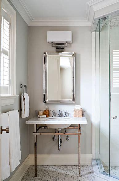 polished chrome washstand transitional bathroom