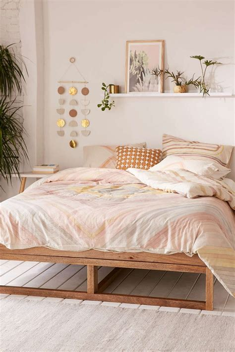 Bedroom With A by Hodad Reversible Watercolor Linen Blend Duvet Cover