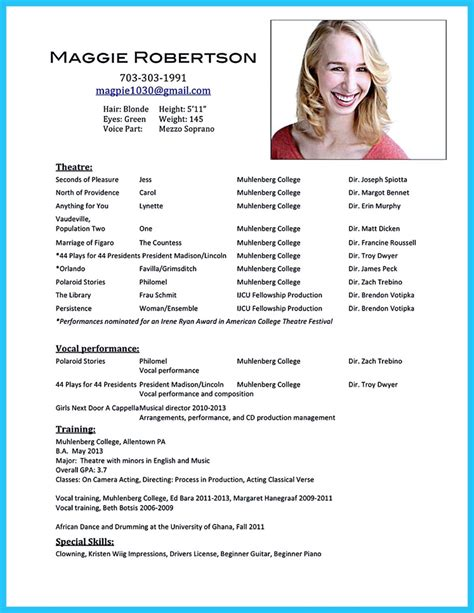 Actor Resumes by Outstanding Acting Resume Sle To Get Soon