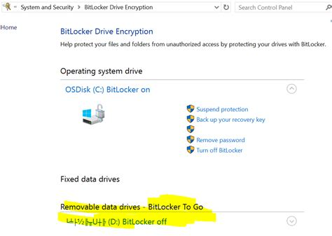 bitlocker manage options under go drive windows removable whether domain environment check please