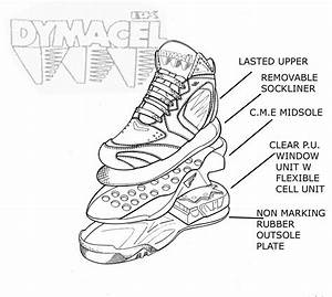 Bk Dymacel Enforcer Preliminary Upper  Midsole  Cell Unit  And Outsole Exploded Line Art Layout