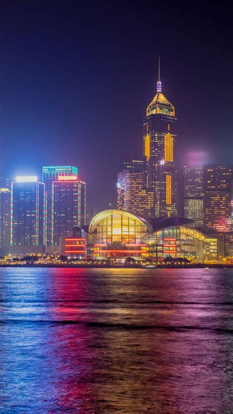 wallpaper hong kong skyline nightscape  world  wallpaper  iphone android