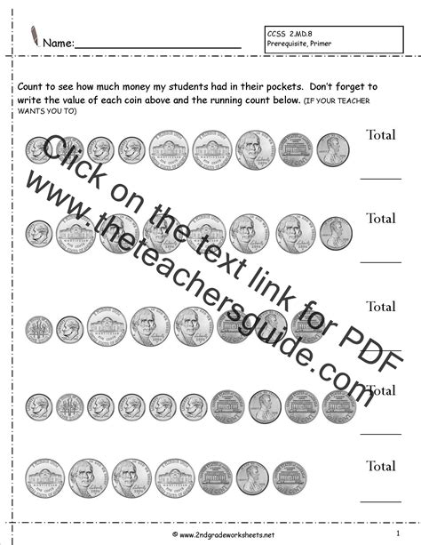 ccss md worksheets counting coins worksheets money