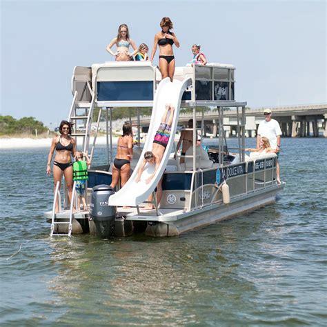 deck pontoon boat with slide destin pontoon rentals pontoon boats house boats etc