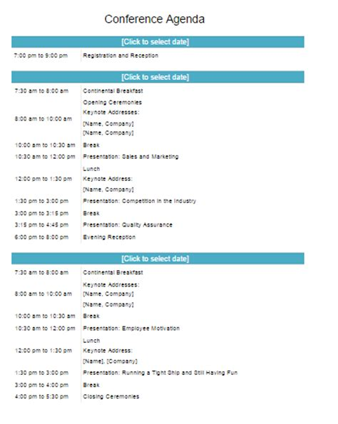 conference program template  word templates