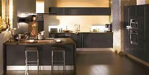 cuisine anthracite et bois pas cher sur cuisinelareduccom With salle À manger contemporaine avec cuisine gris anthracite et bois