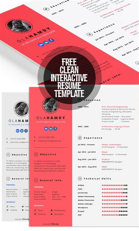 Interactive Resume Templates Free by 21 Fresh Free Resume Templates With Cover Letter Idevie