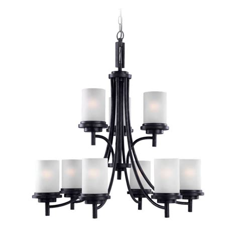 White Modern Chandelier by Modern Chandelier With White Glass In Blacksmith Finish