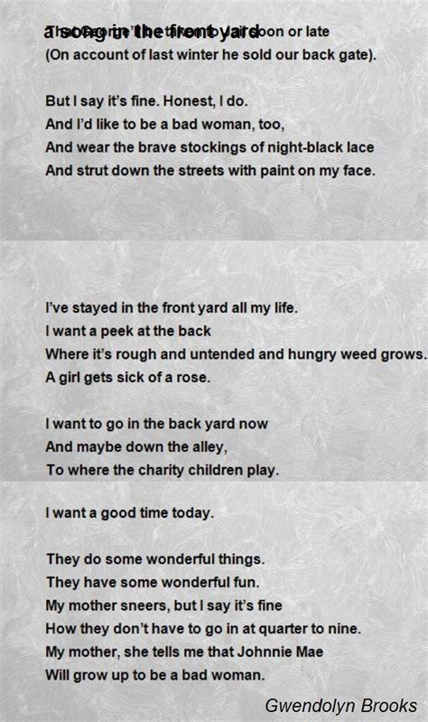song   front yard poem  gwendolyn brooks poem