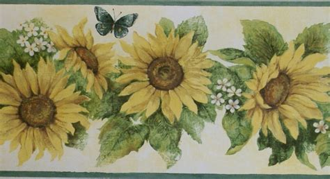 sunflower wallpaper border kitchen gallery