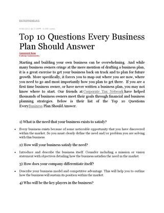 3 Business Plans Every Entrepreneuer Must Top 10 Questions Every Business Plan Should Answer By