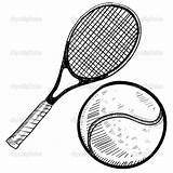 Tennis Racket Coloring Pages Template Ball sketch template