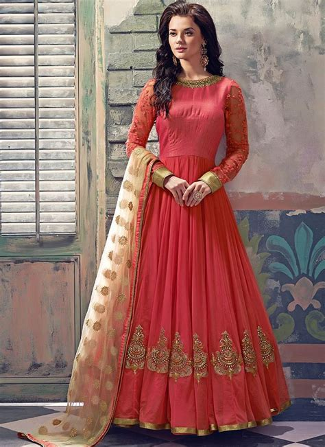 Coral Pink Net Anarkali   Latest Anarkali Frocks Designs