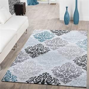 Teppich modern glitzergarn kurzflor barock design turkis for Balkon teppich mit barock tapete schwarz weiß