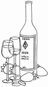 Bottle Wine Coloring Bottles Printable Pages Glass Patterns Drawing Glasses Rings Ketchup Painting Embroidery Designs Champagne Template Printables Beccy Place sketch template