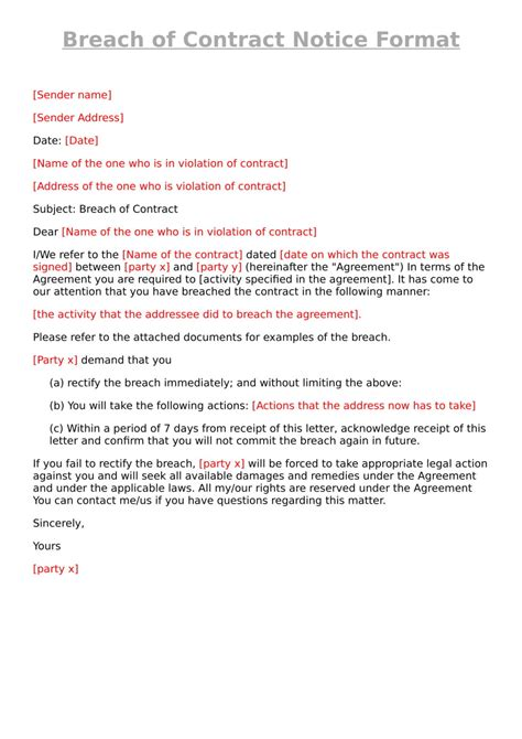 breach  contract notice format legal suvidha