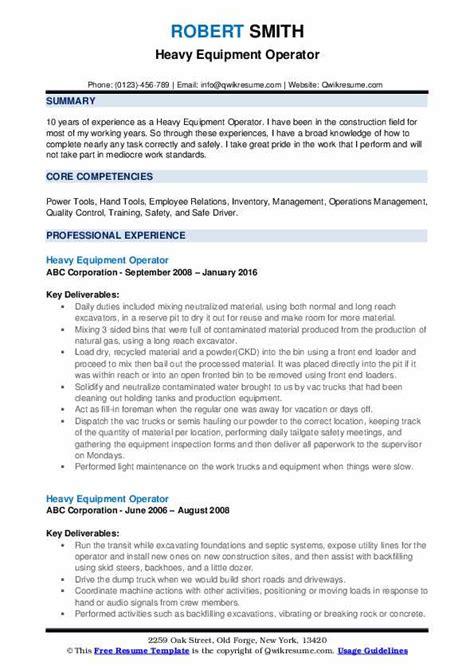 heavy equipment operator resume samples qwikresume