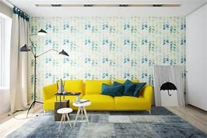 1001 idees creer une deco en bleu et jaune conviviale With tapis d entrée avec canapé lit bleu canard