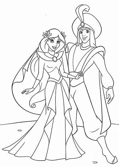 Coloring Princess Jasmine Disney Pages Prince Aladdin