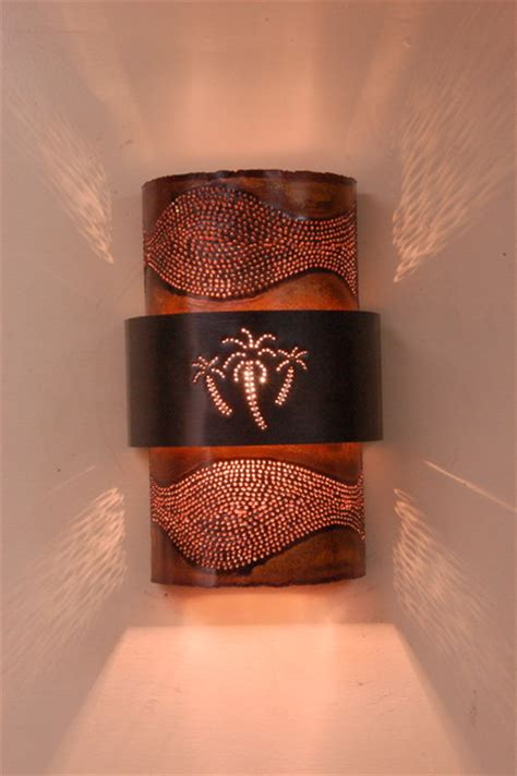 copper palm tree sconce tropical wall sconces