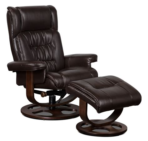Chair With Ottoman by Benji Leather Look Fabric Swivel Reclining Chair With