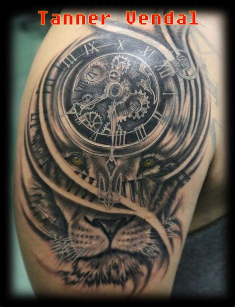 lionclockblackgreytanner  tanner vendal tattoos