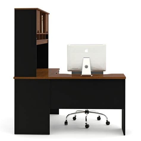 bestar innova u desk with hutch in white and antigua bestar innova l shape wood computer workstation with hutch