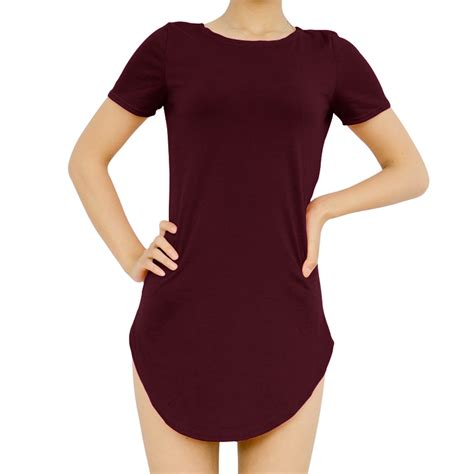 Slit Side Sleeve T Shirt tops cropped sleeve dress side slit casual