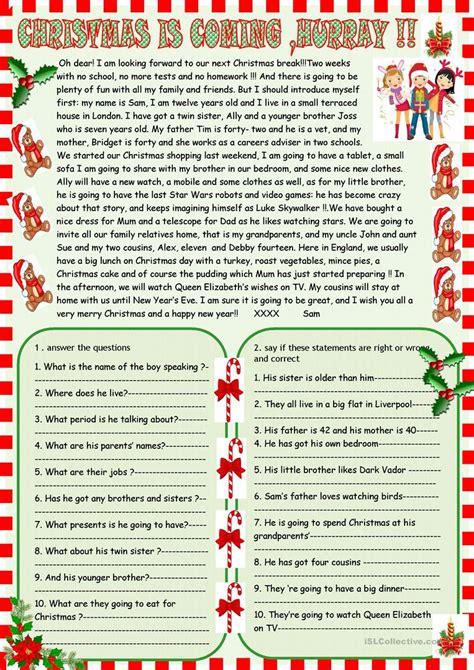 christmas  coming reading comprehension worksheet