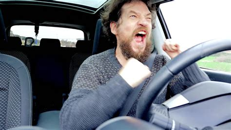 Sad Desperate Man Crying While Singing And Driving Car