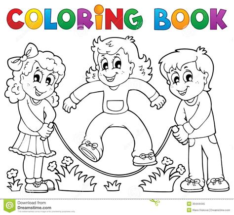 coloring book kids play theme  royalty  stock photo