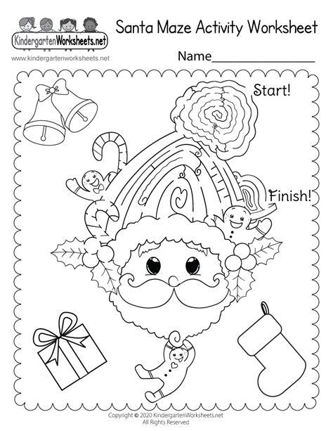 santa maze activity worksheet  kindergarten holiday