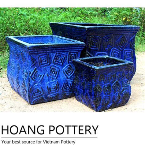 glazed ceramic planters blue square glazed ceramic pots hptv033 hoang pottery