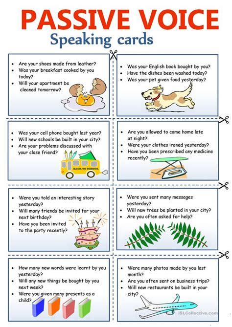 passive voice speaking cards worksheet  esl