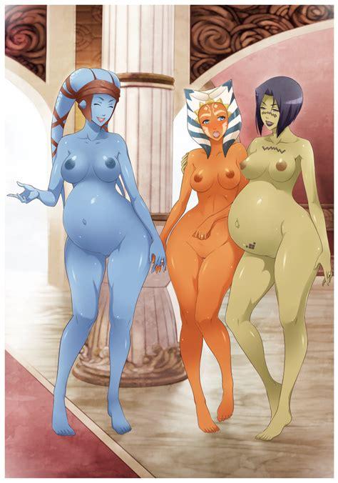 rule 34 3girls aayla secura ahsoka tano alien barefoot barriss offee blue skin breasts clone