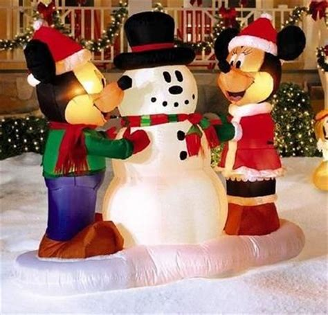 mickey minnie with snowman outdoor decoration mickey mouse minnie w snowman 5 ft gemmy outdoor airblown disney