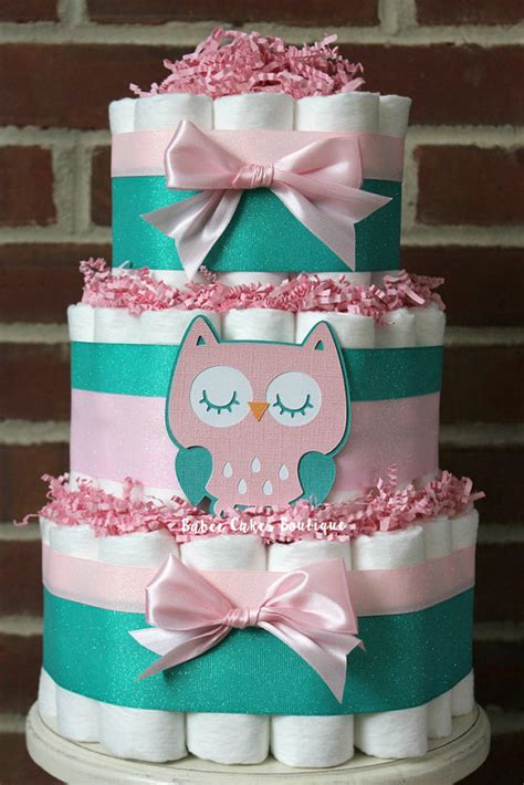 Baby Shower Cakes Girls by 3 Niveles De Pastel De Pa 241 Al Rosa Y Teal Buho Chicas Buho Baby