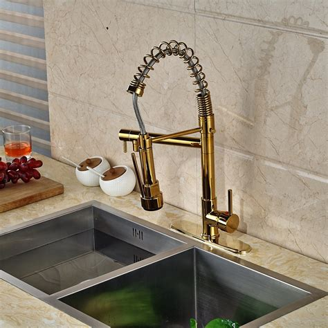 gold kitchen faucet gold finish kitchen sink faucet with pull