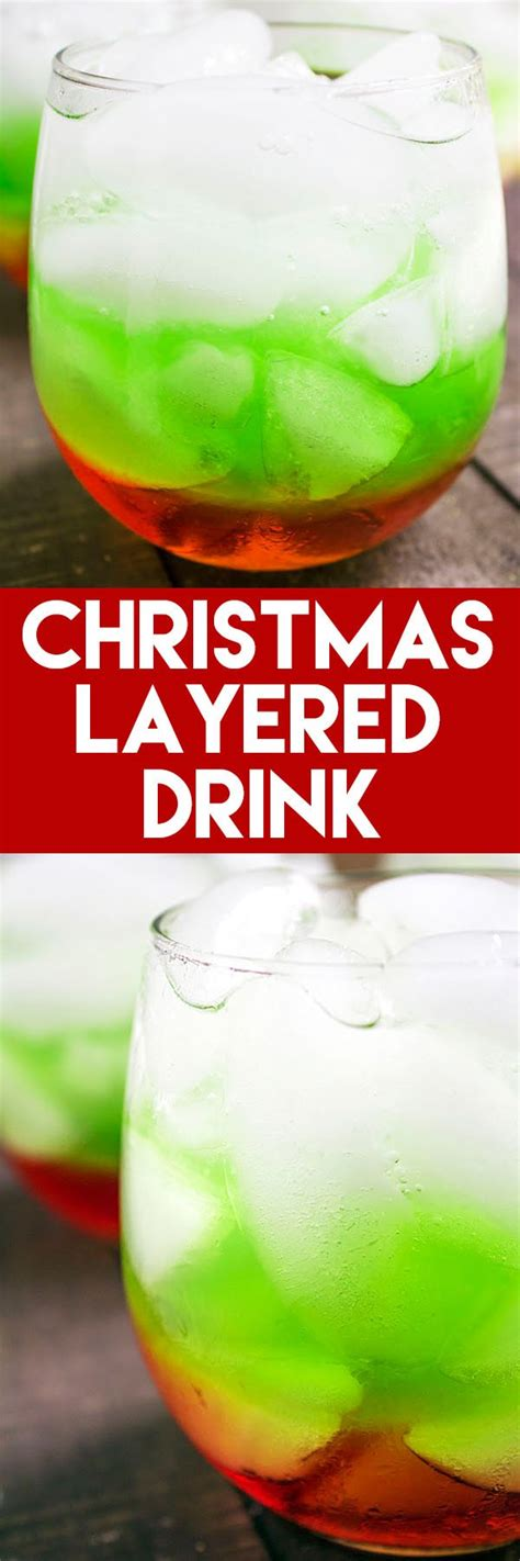 christmas layered drink red green  white high