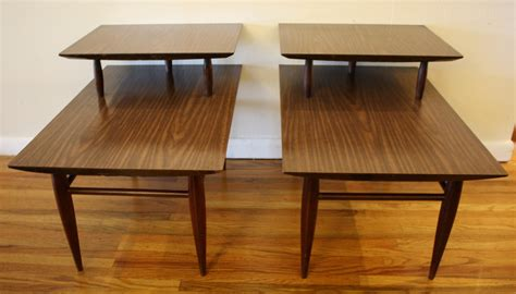 two tier end table mcm formica two tiered tables 2 picked vintage