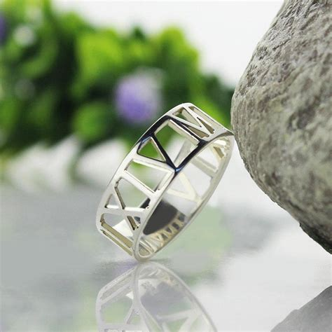 roman numeral ring personalized wedding date ring custom