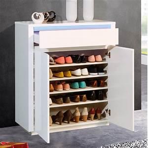 Meuble Chaussure Design : meuble chaussures blanc laqu design avec clairage led ~ Teatrodelosmanantiales.com Idées de Décoration