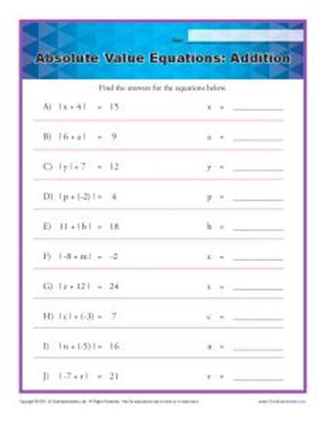Absolute Value Equations  Addition  Printable Math Worksheets