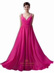 Hot Pink V Neck Spaghetti Strap Chiffon Bridesmaid Dress ...