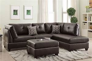 Poundex bobkona f6973 espresso reversible chaise sectional for Coaster sectional sofa with button tufted design brown microfiber