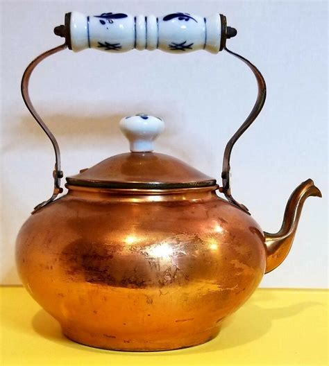 details  tayee taiwan solid copper kettle bird beak spout porcelain  lid handle vintage