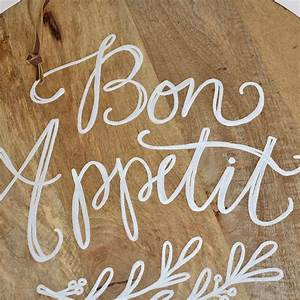 """""""Bon Appetit"""" Calligraphy Quote Round Cutting Board EC's"""