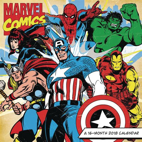 apr marvel comics retro month wall calendar previews