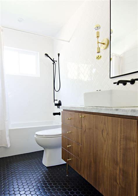 california modern brass wood marble bathroom