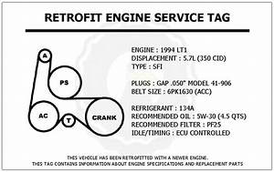 1994 Lt1 5 7l Camaro Z28 Retrofit Engine Service Tag Belt Routing Diagram Decal